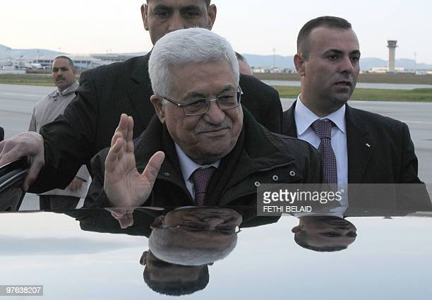 Palestinian President Mahmud Abbas waves as he arrives at Tunis Carthage International airport on March 11 Abbas is in Tunisia on a twoday official...