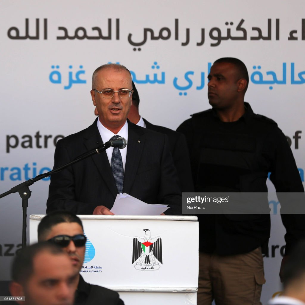 Palestinian Prime Minister Rami Hamdallah delivers a speech during opening of the desalination plant after he escaped unhurt an explosion struck near the convoy of Palestinian Prime Minister Rami Hamdallah in Gaza City
