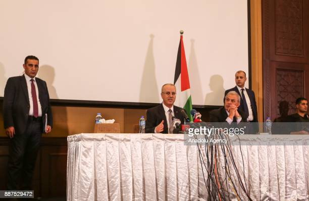 Palestinian Prime Minister Rami Hamdallah delivers a speech on US President Donald Trumps recognition of Jerusalem as Israels capital during a press...