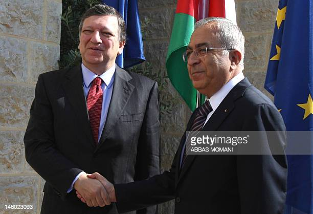 Palestinian prime minister Salam Fayyad shakes hands with European Commission President Jose Manuel Barroso upon the latter's arrival for their...