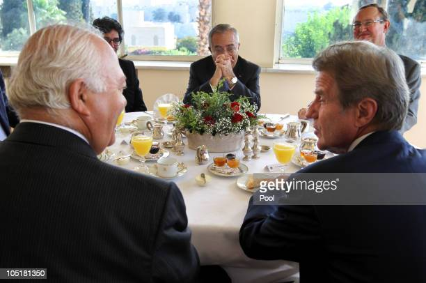 Palestinian Prime Minister Salem Fayyad with Bernard Kouchner French Minister of Foreign and European Affairs and Spanish Foreign Minister Miguel...