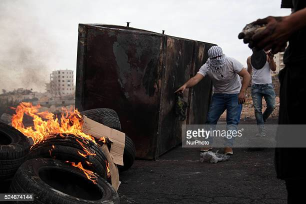 Palestinian protesters during clashes with Israeli troops near Beit El settlement Clashes erupted between hundreds of Palestinian protesters and...