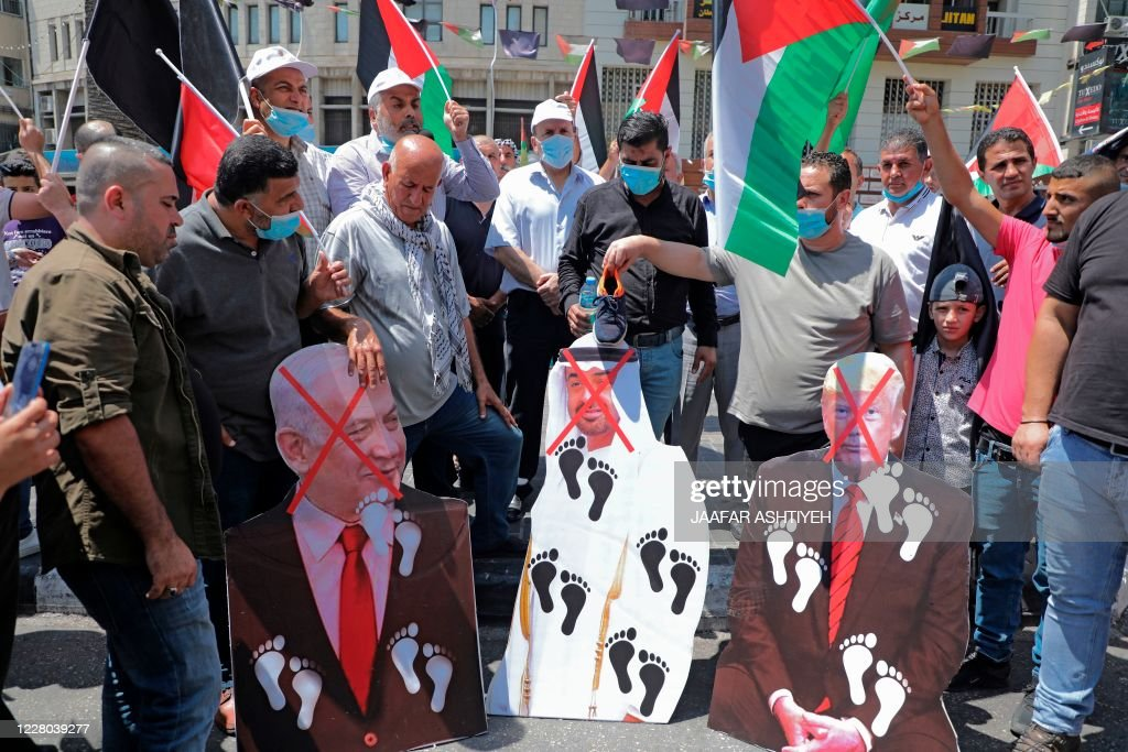PALESTINIAN-ISRAEL-CONFLICT-UAE-US-DIPLOMACY-DEMO : News Photo