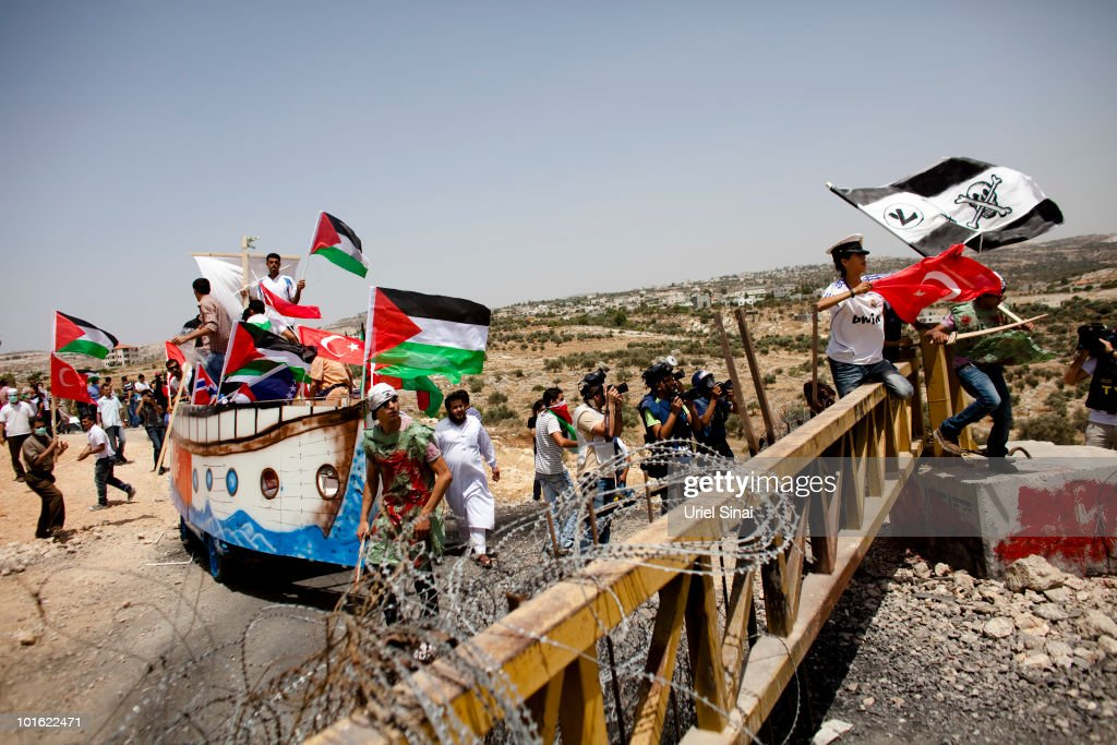 Replica Aid Flotilla Used In Israeli Barrier Protest : News Photo