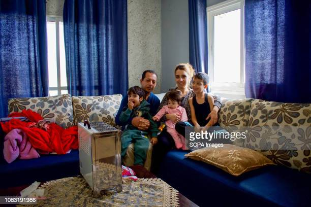 Palestinian refugee family seen at their home in Dheisheh Refugee Camp