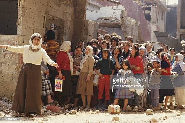 Palestinian refugees at the Bourj el-Barajneh camp in Beirut, Lebanon, during the Lebanese Civil War, 1989.