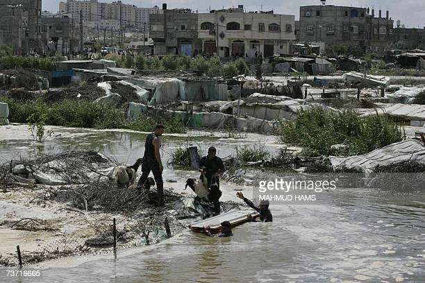 Palestinian rescue their goats from sewer waters in the Bedouin village of Um Al-Nasr following the collapse of a sewer system in the northern Gaza...
