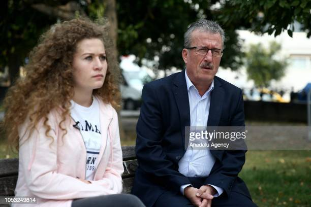 Palestinian resistance icon Ahed alTamimi and her father Basim alTamimi pose during an exclusive interview as they arrive in Istanbul to attend the...