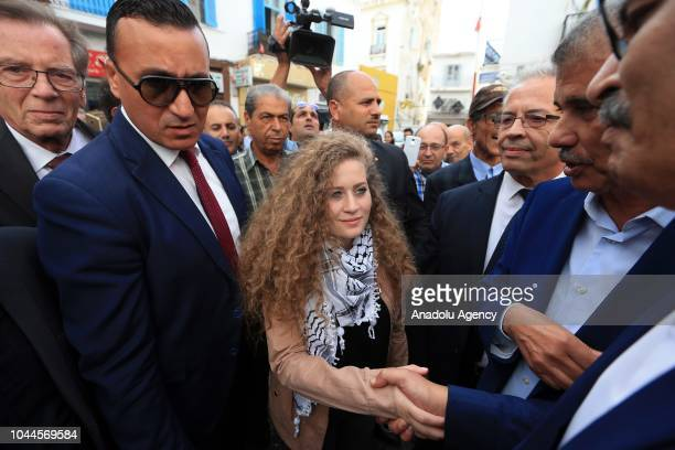 Palestinian resistance icon Ahed alTamimi who was awarded the 'Hanzala Award for Courage' in Turkey is welcomed by union officials during her visit...