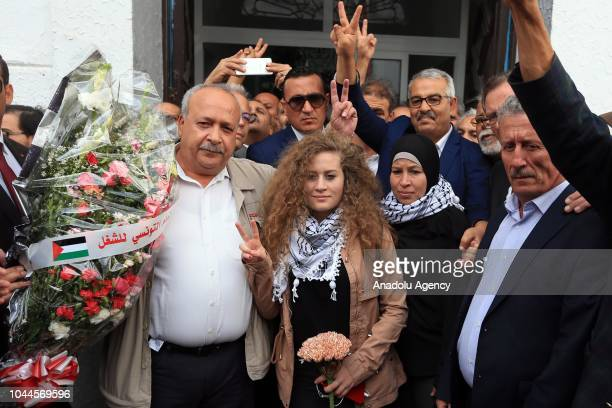 Palestinian resistance icon Ahed alTamimi who was awarded the 'Hanzala Award for Courage' in Turkey is welcomed by Board Member of the Tunisian...