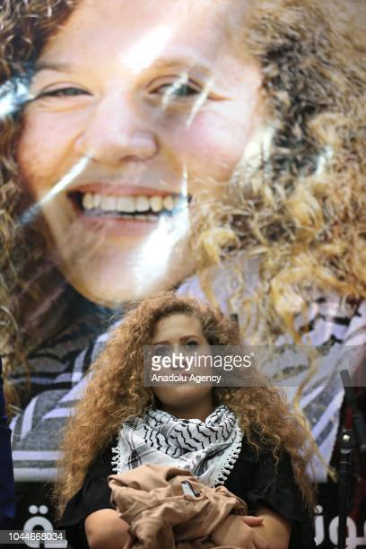 Palestinian resistance icon Ahed alTamimi who was awarded the 'Hanzala Award for Courage' in Turkey attends a program organized by Tunisian General...