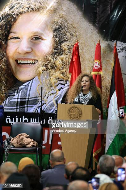 Palestinian resistance icon Ahed alTamimi who was awarded the 'Hanzala Award for Courage' in Turkey makes a speech as she attends a program organized...