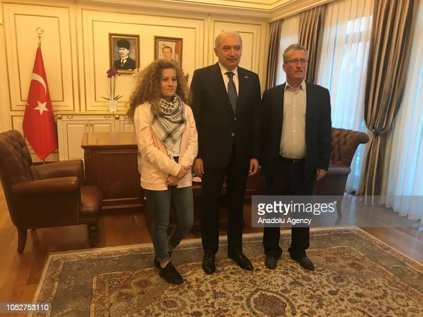Palestinian resistance icon Ahed alTamimi who was awarded the 'Hanzala Award for Courage' in Turkey and her father Besim Tamimi and Istanbul Mayor...