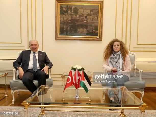 Palestinian resistance icon Ahed alTamimi who was awarded the 'Hanzala Award for Courage' in Turkey meets with Istanbul Mayor Mevlut Uysal in...