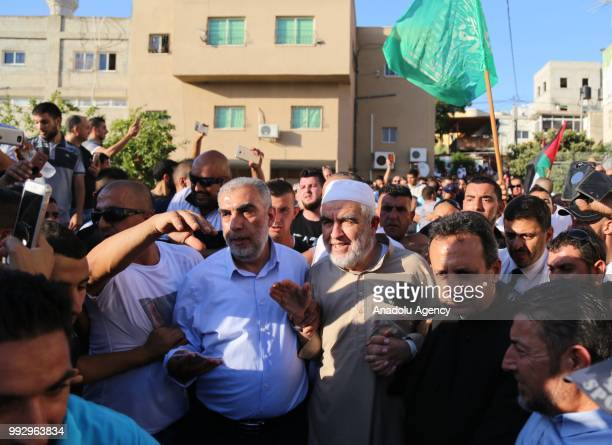 Palestinian resistance icon Raed Salah is seen in front of his house after Israeli court ordered the conditional release of him in Haifa Israel on...