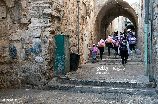 palestinian school children in east jerusalem - jerusalem old city stock pictures, royalty-free photos & images