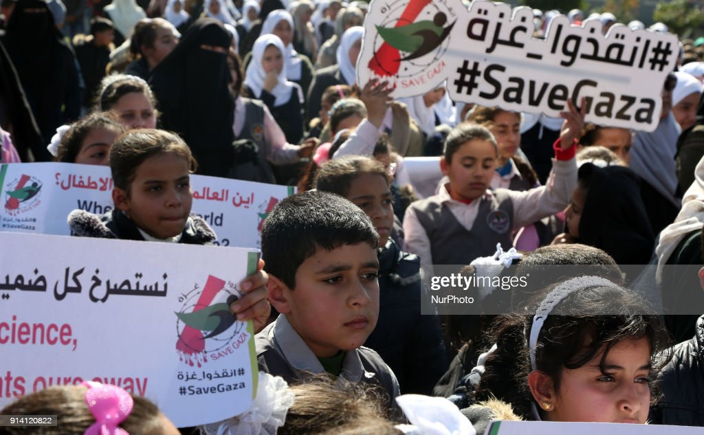 tle Protest in Gaza against earmarked for the UN relief agency : News Photo