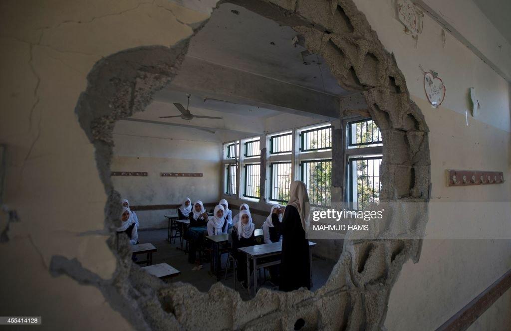 PALESTINIAN-ISRAEL-CONFLICT-SCHOOL : News Photo
