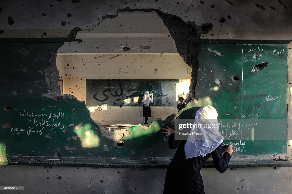 Palestinian students inside their school, on the second day... : News Photo