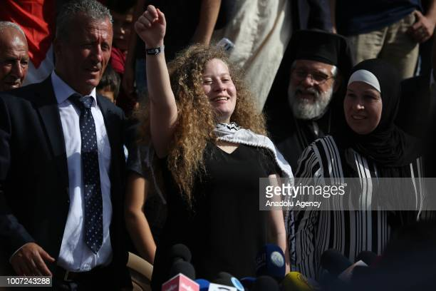 Palestinian teenager Ahed alTamimi holds a press conference with her mother Nariman Tamimi and her father Basil Tamimi in Nabi Salih village of...