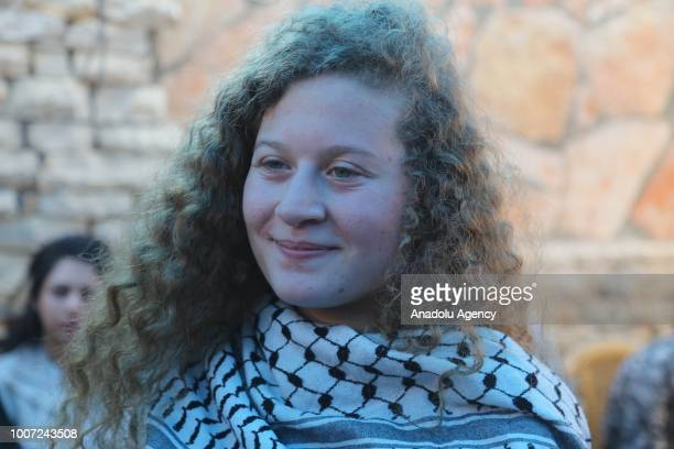 Palestinian teenager Ahed alTamimi makes a speech during an exclusive interview in Nabi Salih village of Ramallah West Bank on July 29 2018...