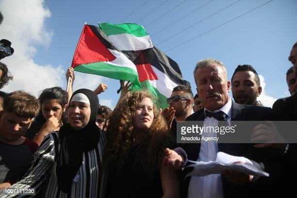 Palestinian teenager Ahed alTamimi who was awarded the 'Hanzala Award for Courage' in Turkey is released with her mother Nariman Tamimi after 7...