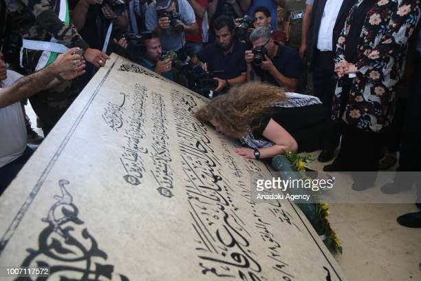 Palestinian teenager Ahed alTamimi who was awarded the 'Hanzala Award for Courage' in Turkey and her mother Nariman Tamimi visit the Mausoleum of...