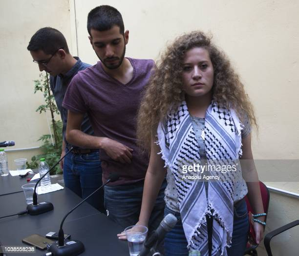Palestinian teenager Ahed alTamimi who was awarded the 'Hanzala Award for Courage' in Turkey answers the questions of press members in Athens Greece...