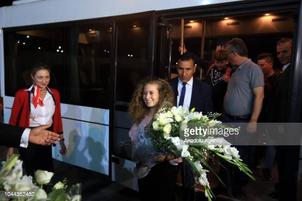 Palestinian teenager Ahed alTamimi who was awarded the 'Hanzala Award for Courage' in Turkey is being welcomed as she arrives at the Tunisian Airport...