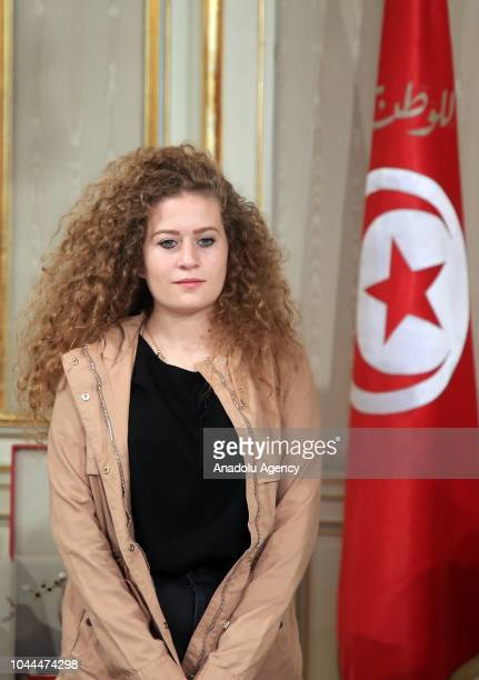 """Palestinian teenager Ahed al-Tamimi, who was awarded the """"Hanzala Award for Courage"""" in Turkey, is seen her meeting with Tunisian President Beji Caid..."""