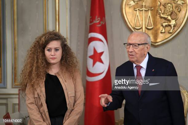 """Palestinian teenager Ahed al-Tamimi, who was awarded the """"Hanzala Award for Courage"""" in Turkey, meets with Tunisian President Beji Caid Essebsi at..."""
