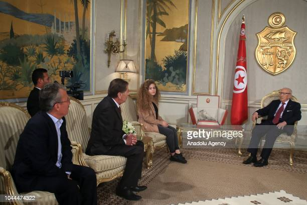 Palestinian teenager Ahed alTamimi who was awarded the 'Hanzala Award for Courage' in Turkey meets with Tunisian President Beji Caid Essebsi at the...