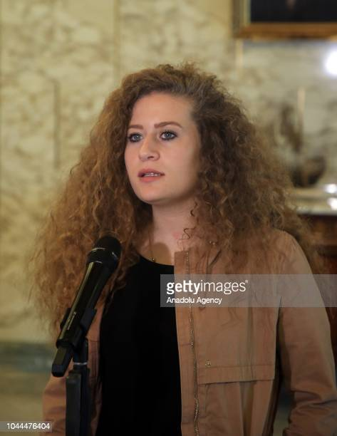 Palestinian teenager Ahed alTamimi who was awarded the 'Hanzala Award for Courage' in Turkey holds a press conference at the Carthage Palace in Tunis...