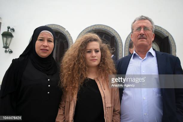 Palestinian teenager Ahed alTamimi who was awarded the 'Hanzala Award for Courage' in Turkey visits the Carthage Palace with the invitation of...