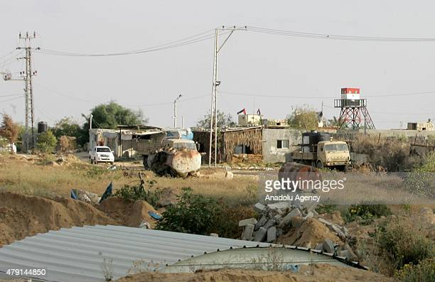 Palestinian troops patrol through borderline as Egyptian soldiers and militants clash in Rafah in North Sinai and Egypt's eastern border with the...