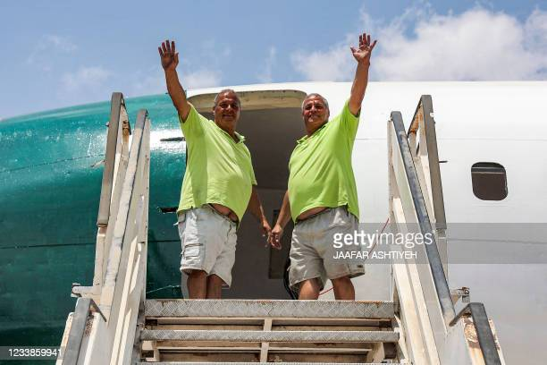 """Palestinian twin brothers Atallah and Khamis al-Sairafi convert a Boeing 707 aircraft into a restaurant they are calling """"The Palestinian-Jordanian..."""