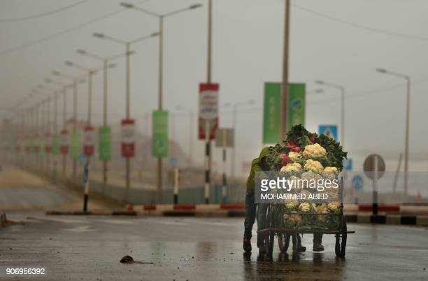 Palestinian vendor pushes his vegetable cart during a storm in Gaza City on January 19 2018 / AFP PHOTO / MOHAMMED ABED