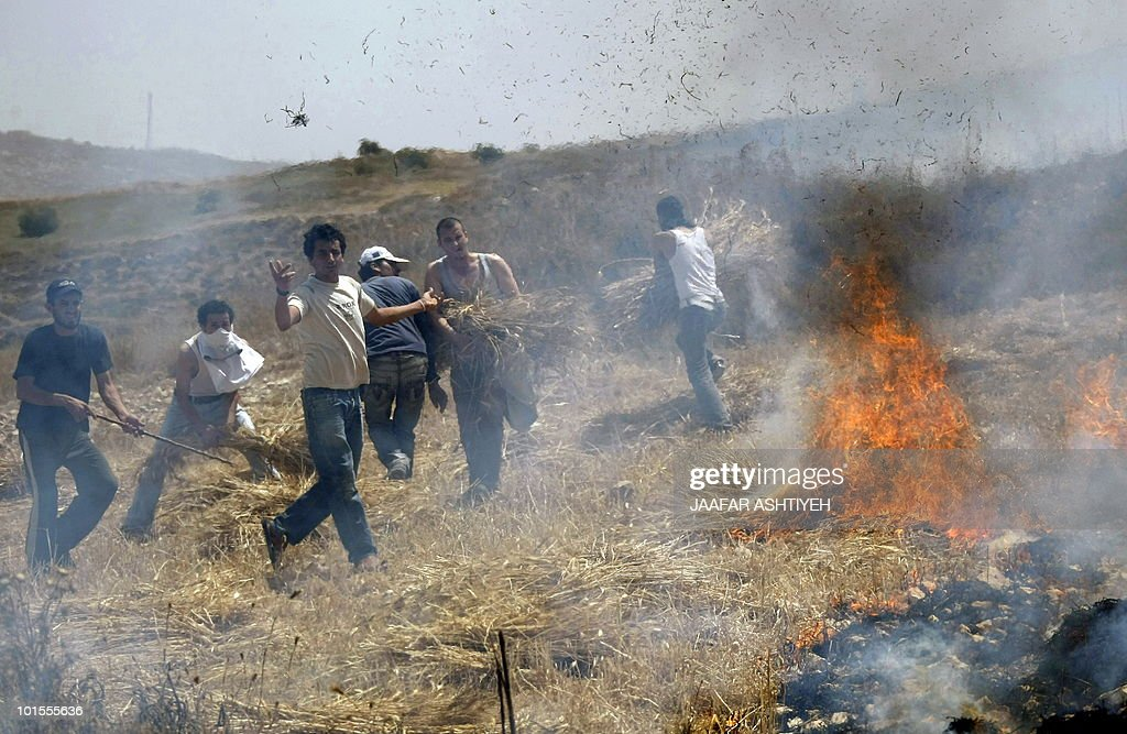 Palestinian villagers try to put out fires after fields were set ablaze in the village of Asira al-Qiblyia in the northern West Bank on June 2, 2010. According to Palestinian villagers, Jewish settlers from the nearby Yitzhar settlement set on fire their olive and wheat fields.