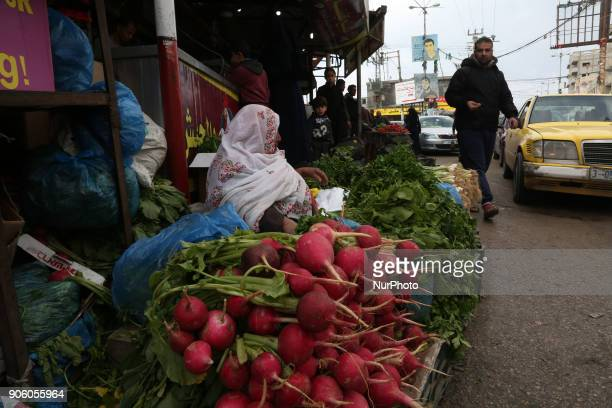 A Palestinian woman sells vegetables at a market in alNusirat refugee camp in the Gaza strip on January 17 2018 Gazans are strapped for cash and...