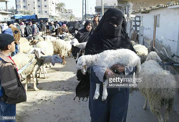 Palestinian women carry little lambs they bought at a market in Rafah refugee camp in the southern Gaza Strip 27 January 2004 as Muslims prepare for...