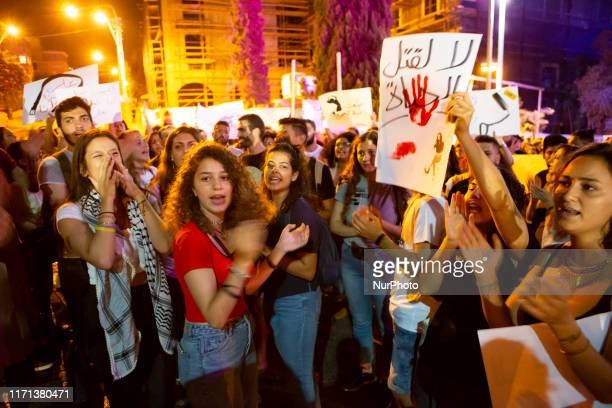 Palestinian women protest in response to an upsurge of killings of women across the country on 26 September in Haifa Israel In 2019 alone over...