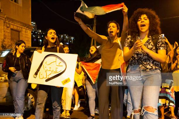 Palestinian women protest in response to an upsurge of killings of women across the country, on 26 September in Haifa, Israel. In 2019 alone, over...