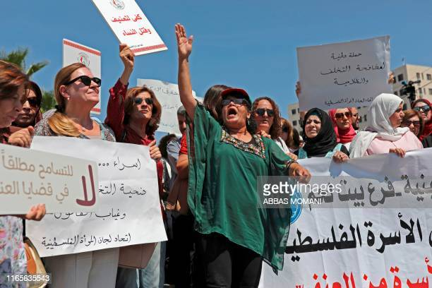 Palestinian women protest in support of womens rights outside the prime ministers office in the West Bank city of Ramallah on September 2 after a...