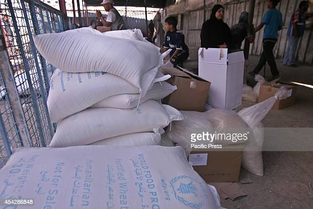 Palestinian women waiting for aid hand outs from the UNRWA after war ended officially in Rafah Southern Gaza strip