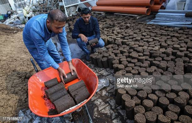 Palestinian workers arrange briquettes made from olive pomace, the solid residue remaining after oil extraction which is used as an energy source, at...