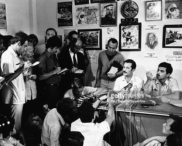 Palestinian writer Ghassan Kanafani spokesman for the Popular Front for the Liberation of Palestine speaks at a press conference at party...