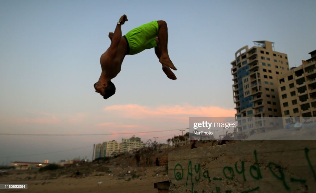 A Palestinian Youth Makes A Jump Near The Beach In Gaza City On 08 News Photo Getty Images