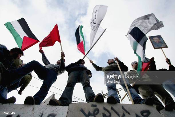 Palestinian youth wave the national flag as they watch other Palestinians and leftwing Israelis demonstrate on the Palestinian side of the...