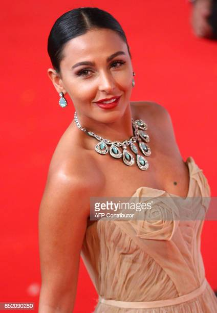 PalestinianJordanian actress Mais Hamdan poses for photos during the opening ceremony of the first edition of the ElGouna Film Festival in Hurghada...