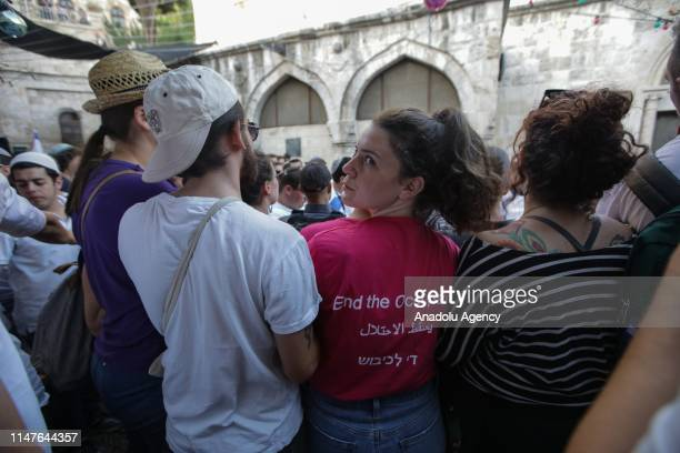 Palestinians and some foreign activists react against the march of Jews at Jerusalems Old City on June 02 2019 Jews participated in a celebration...